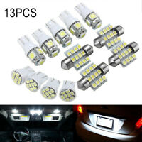 13X Car White LED Light Interior Package T10 Festoon Map Dome License Plate Set