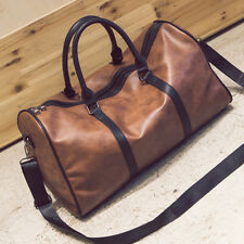 Outdoor Travel Leather Bag Weekend Overnight Simple Luggage Carry Tote Gym Bag