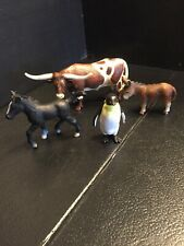 B22) Schleich Animal figures lot of 4 Texas Big Horn Cow Penguin Donkey & Colt