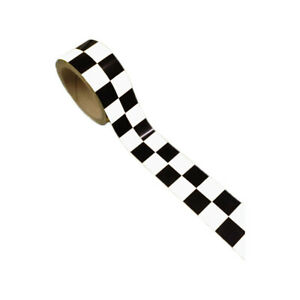 """Cafe Racer 2"""" x 36 ft Roll Racing Checker Tape Black/White Rally Pattern Street"""