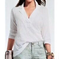 CAbi 237 Shirt Size XS Womens White Collared Sheer Quarter Sleeve Top