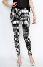Womens Print Leggings Ladies Black White Check Plaid Skinny Legging UK 8 10 12