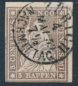 [54753] Switzerland 1855 LUXE classical stamp Used VF (black silk) big margins