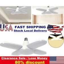 60W Led Garage Shop Work Lights Foldable Fan Blade E27 Ceiling Deformable Lamp