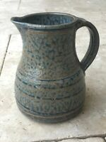 "8"" Folk Art Pottery Pitcher Signed Blue And Brown"