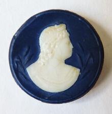 Camée médaillon en verre 19e siècle pour broche pendentif cameo