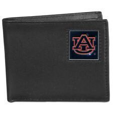 Auburn Tigers Leather Bifold Wallet Black w/ 2 flip ID Windows