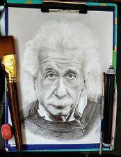 "Pencil Drawing of Albert Einstein, original artwork,  8.5"" X 11"""