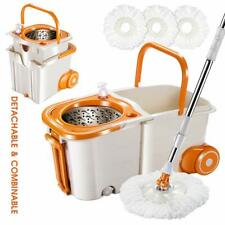 Mop & Buckets Sets on Wheels Space Saving Magic Spin Mop for Hardwood Floor
