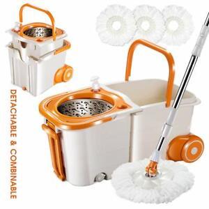 Mop & Buckets Sets on Wheels Space Saving Magic Spin Mop for Hardwood Floor