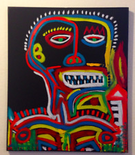 SIGNED OIL ON CANVAS PAINTING Mask Skull Jean Michel Basquiat style Street Art