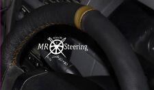 FOR MAZDA MX5 MK2 1998-05 REAL BLACK LEATHER STEERING WHEEL COVER + BROWN STRAP