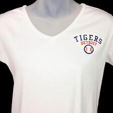 Detroit Tigers Knit Top White Ribbed V-Neck MLB Logo Athletic Womens Large NWT