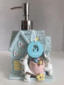 En Vogue Bunny Rabbit Blue Shingled House Bath Soap Lotion Pump Dispenser Egg