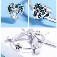 925 Sterling Silver Flower Pendant Charm CZ For Women Bracelet Necklace Jewelry