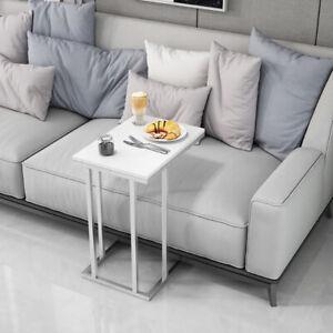 White High Gloss Sofa Side Table C Shaped Coffee End Table Living Room/Bedroom