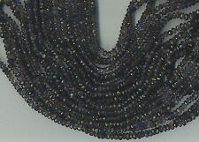 """14"""" STRAND AAA 4MM FACETED IOLITE RONDELLE BEADS"""