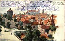 Nürnberg Bayern alte Color Künstlerkarte 1912 gelaufen Totalansicht Straßenbahn