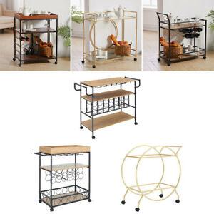 Wood/Glass Metal Drinks Trolley Kitchen Cart Bar Alcohol Tea Wine Serving Carts