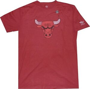 Chicago Bulls Slim Fit Logo Adidas Red Shirt Closeout NEW $32