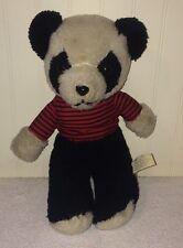 "Vintage Panda Bear Plush Stuffed Animal Black Red Striped Interpur Korea Toy 12"""
