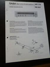 Original Service Manual  SABA Hifi 176 RS 910