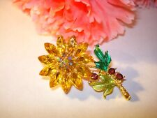 Yellow Crystal AB Rhinestone Enamel Floral Brooch Pin New