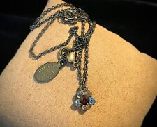 Michal Negrin Rhinestone Flower Dainty Bronze Tone Chain Necklace