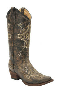 (10 M US, Brown) - Corral Women's Circle G Crackle Scroll Bone Embroidered