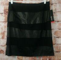 NWT Rafaella Layerd Skirt SZ 10 Black Vegan Leather