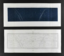 1872 Astronomy Maps x 2 Equatorial Zone 50° Declination & Constellations Chart