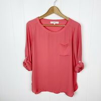 Ann Taylor Loft S Small Blouse Coral Roll Sleeve Top Women's