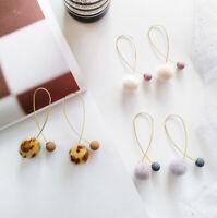 Pom Pom Fur Ball Ear Dangle Drop Stud Geometry Earrings Fashion Women Jewelry