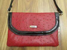 Grace Adele Clutch Shoulder Bag Small Purse Red & Black Ostrich Animal Print