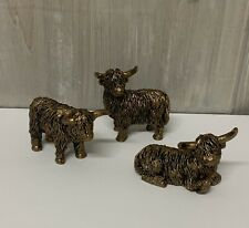 More details for set of 3 mini bronze style gold highland cow figures vintage figurine shaggy
