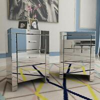 Set of 2 Mirrored Nightstand End Bedside Table Cabinet 3 Drawers Crystal Storage