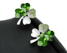 FOUR LEAF CLOVER SILVER DARK GREEN SHAMROCK STUD EARRINGS EMERALD Irish 872