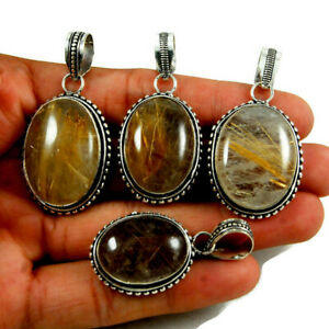 New Lot PCs Natural Golden Rutile Gemstone 925 Sterling Solid Silver Pendants