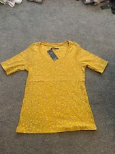 BNWT M&S COLLECTION LADIES Short SLEEVED , TOP SIZE 14 Gold Flora COTTON