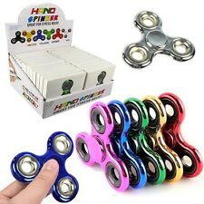 Metallic Fidget Tri Hand Spinners Assorted Colors w/ Display Box (Pack of 24X)