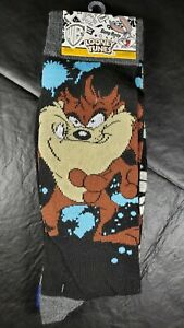 2 Pair Looney Tunes Crew Socks, Adult Shoe 6-12, Taz