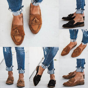 Women Suede Pointed Toe Mules Casual Slip-On Tassel Flats Loafer Oxfords Shoes