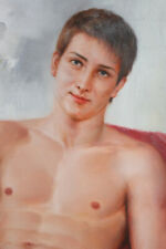 """Nude male original oil painting on canvas young men sitting in sofa 24""""x36"""""""