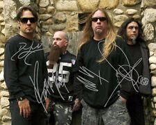 Slayer Group Signed 8X10 Photo Rp Jeff Hanneman Kerry King Tom Araya Lombardo
