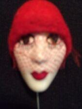 Art Deco Pretty Porcelain Face Stick Pin Brooch Vintage Jewelry Red Felt Hat