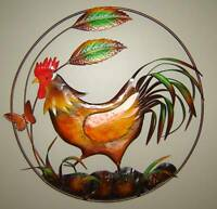 Country Rooster Metal Wall Decor Plaque NEW