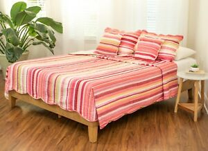 DaDa Bedding Scalloped Red Bohemian Stripes Lightweight Coverlet Bedspread Set