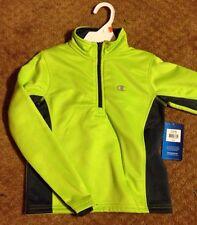 Boys-Size-5/6-Jacket-Neon-Green-w/Gray-Half-Zip Sweat Shirt Pullover Fleece-line