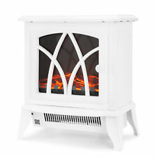 Netta 2000W Electric Fireplace Stove Heater Log Burning Effect White