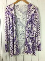 "Chico""s Open Front Cardigan Sweater Small (Chicos Size 0) Purple White Summer"